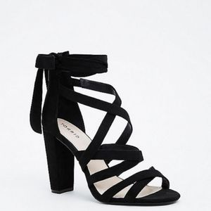 Torrid Black Thick Strappy Wrap Heel Sandal